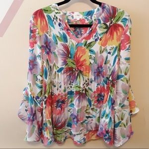 Multicolor Ruffle Sleeves Smock Waist Floral Top